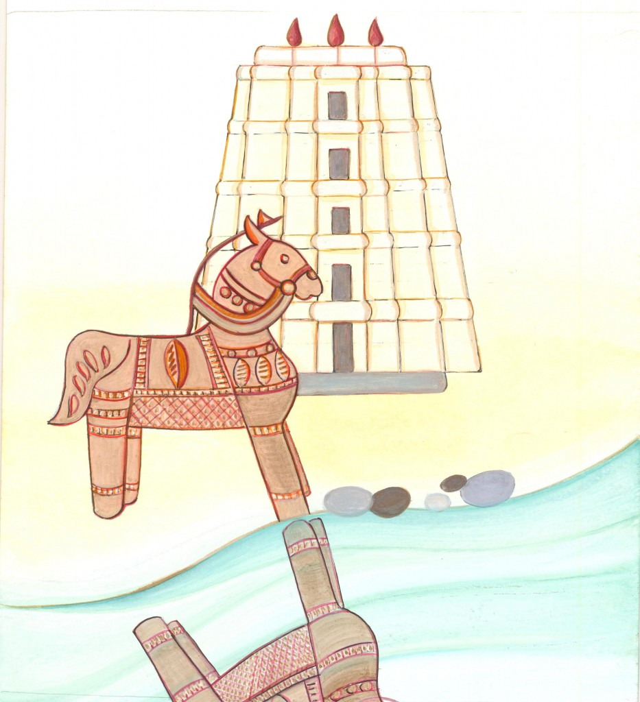 Dessin-cheval au temple